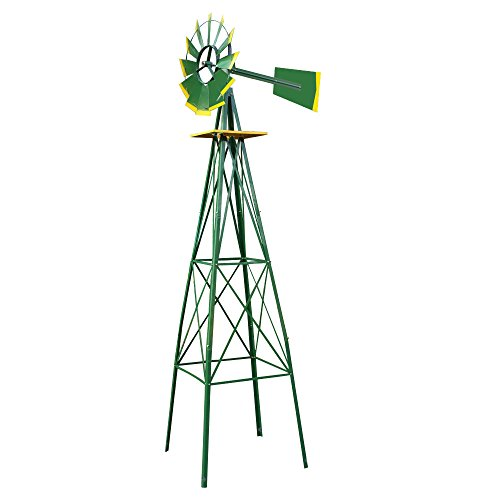 COLIBROX-8FT-Green-Metal-Windmill-Yard-Garden-Decoration-Weather-Rust-Resistant-Wind-Mill-Garden-Metal-Ornamental-Wind-Mill-Weather-Vane-Weather-Resistant-Green-0