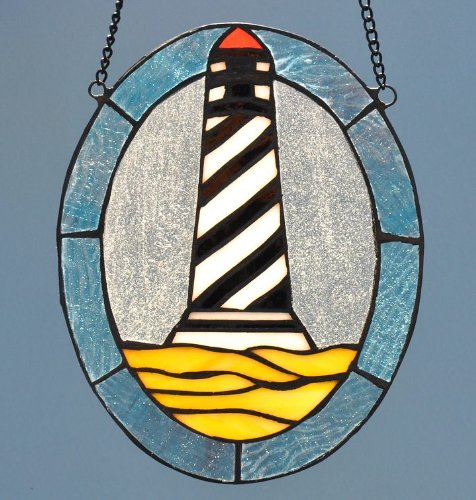 Cape-Hatteras-Lighthouse-Oval-Stained-Glass-Suncatcher-0