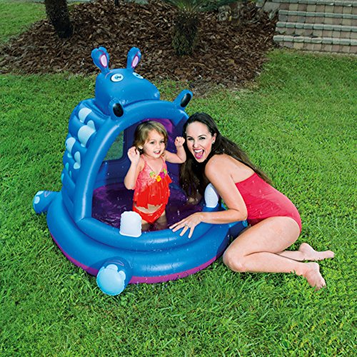 DMGF-Inflatable-Baby-Pool-With-Canopy-Kids-Swim-Center-Summer-Children-Paddling-Pool-With-Electric-Air-Pump-Hippo-Wave-Above-Ground-Pools-44X39-X-38-Inches-0-0