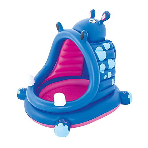 DMGF-Inflatable-Baby-Pool-With-Canopy-Kids-Swim-Center-Summer-Children-Paddling-Pool-With-Electric-Air-Pump-Hippo-Wave-Above-Ground-Pools-44X39-X-38-Inches-0-2