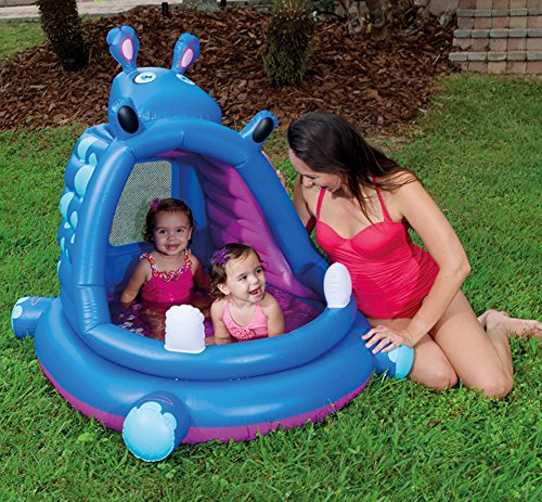 DMGF-Inflatable-Baby-Pool-With-Canopy-Kids-Swim-Center-Summer-Children-Paddling-Pool-With-Electric-Air-Pump-Hippo-Wave-Above-Ground-Pools-44X39-X-38-Inches-0