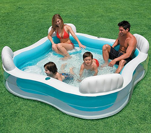 DMGF-Inflatable-Pool-Family-Swim-Center-Lounger-With-Electric-Air-Pump-Backrest-Cup-Holesthicken-Round-SPA-Summer-Adult-Kid-Paddling-Pool-229X229x66cm-0-0
