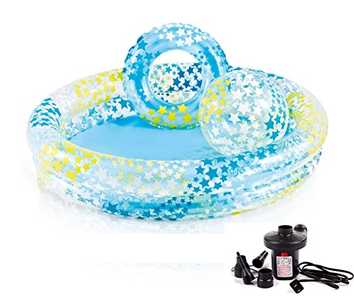 DMGF-Kids-Swimming-Pool-3-Piece-Set-Inflatable-Above-Ground-Pool-Beach-Ball-Ring-Summer-Family-Padding-Pool-Child-Swim-Center-With-Electric-Air-Pump-For-Ages-2-0