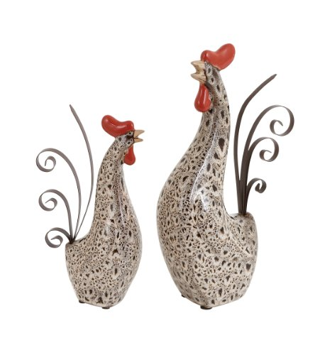 Deco-79-Ceramic-Metal-Rooster-Sculpture-13-Inch10-Inch-Set-of-2-0