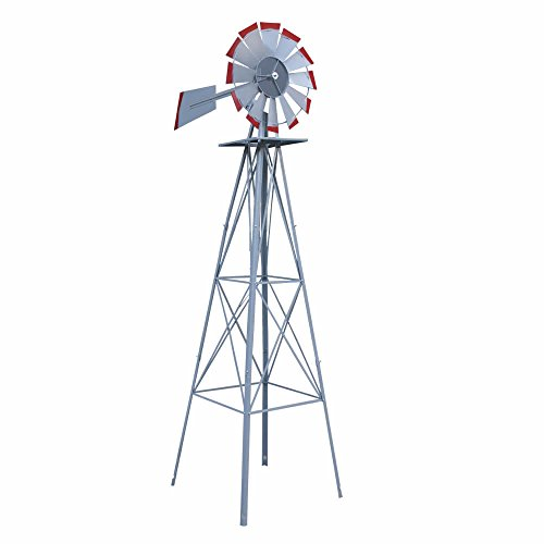 Decorative-8-Foot-Ornamental-Durable-Steel-Yard-Garden-Windmill-Weather-Vane-Most-Powerful-Design-with-No-Batteries-or-Electrical-Outlets-Needed-Spinner-is-Weather-Resistant-4-Leg-Designed-Silver-0