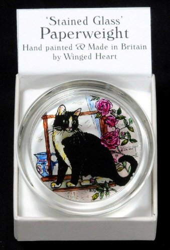 Decorative-Hand-Painted-Stained-Glass-Paperweight-in-a-Black-and-White-Cat-Design-0-0