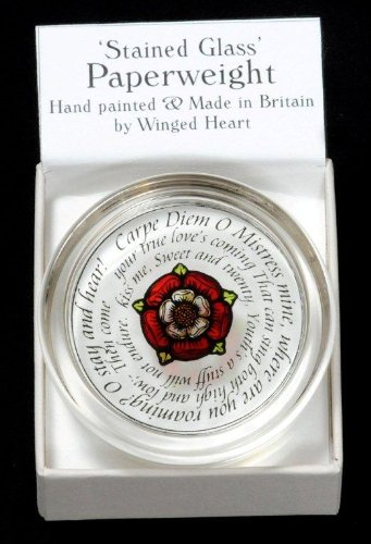 Decorative-Hand-Painted-Stained-Glass-Paperweight-in-a-Tudor-Rose-Carpe-Diem-Design-0-0