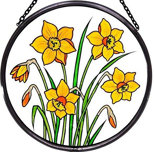 Decorative-Hand-Painted-Stained-Glass-Window-Sun-CatcherRoundel-in-a-Daffodils-Design-0