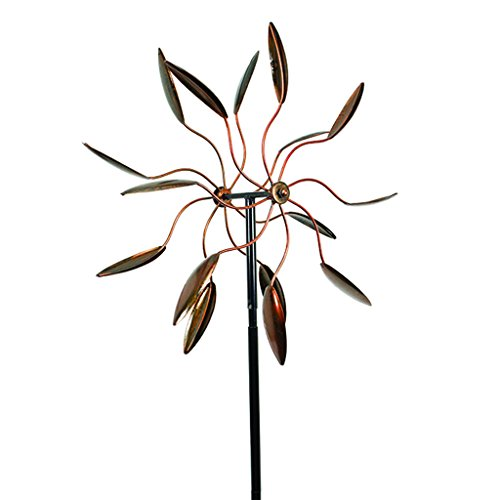 Decorative-Leaf-Wind-Spinner-Kinetic-Art-Garden-Stake-Outdoor-Dual-Motion-Double-Spiral-Metal-Lawn-Ornament-Copper-Colored-Powder-Coated-Yard-Sculpture-0