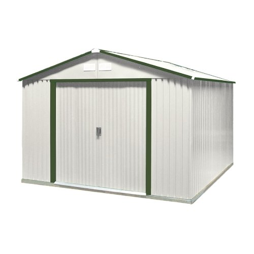DuraMax-Model-50214-10×8-Colossus-Metal-Shed-with-foundation-green-trim-0-1