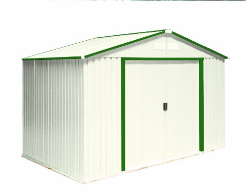 DuraMax-Model-50214-10×8-Colossus-Metal-Shed-with-foundation-green-trim-0