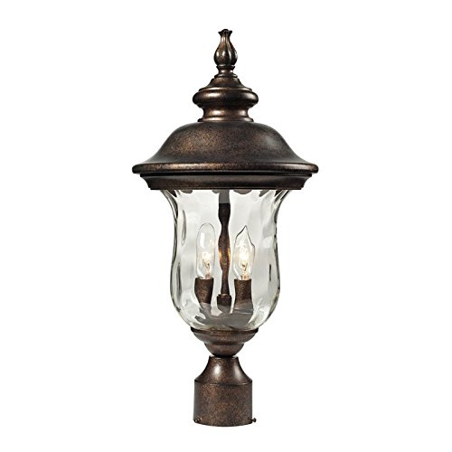 ELK-450232-Lafayette-2-Light-Outdoor-Post-Mount-with-Blown-Water-Glass-Body-10-by-21-Inch-Regal-Bronze-Finish-0