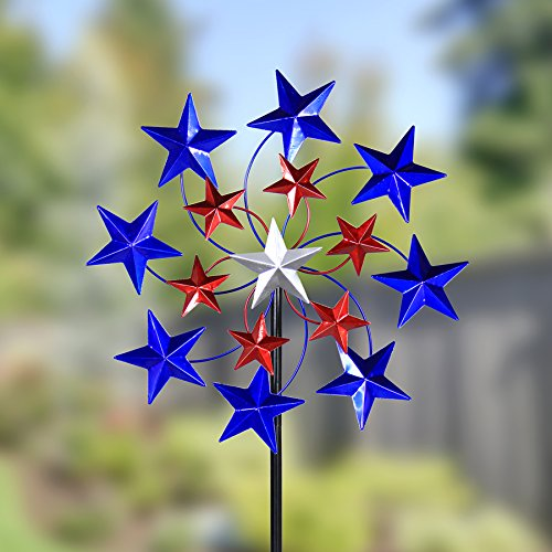 Exhart-Star-Spangled-Garden-Spinner-Metal-and-Resin-Metalic-Paint-Kinetic-Red-White-and-Blue-20-L-x-7-W-x-83-H-0-0