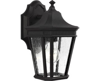 Feiss-OL5420BK-Cotswold-Lane-Outdoor-Patio-Lighting-Wall-Lantern-Black-1-Light-7W-x-12H-100watts-0-0