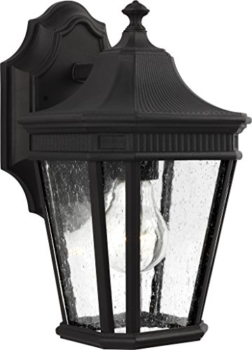 Feiss-OL5420BK-Cotswold-Lane-Outdoor-Patio-Lighting-Wall-Lantern-Black-1-Light-7W-x-12H-100watts-0