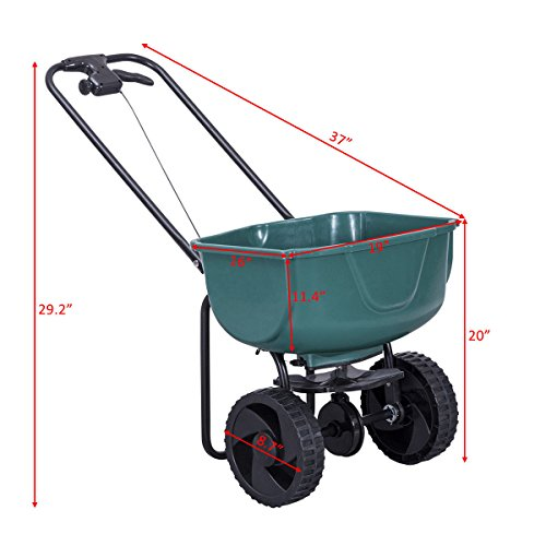 Globe-House-Products-GHP-44-Lbs-Capacity-Green-Steel-Plastic-Garden-Broadcast-Spreader-Fertilizer-Cart-0-1