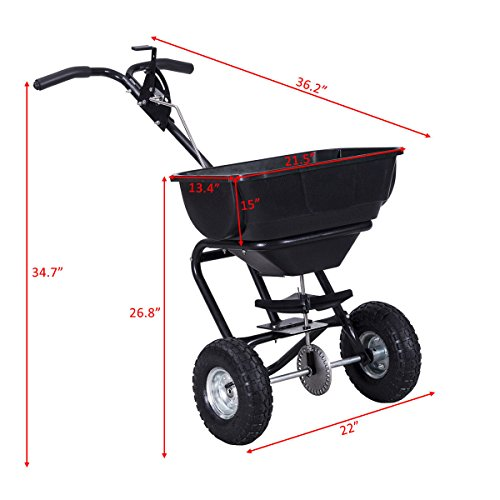 Globe-House-Products-GHP-Black-55-Lbs-Capacity-Steel-Rubber-Garden-Broadcast-Spreader-Fertilizer-Cart-0-1