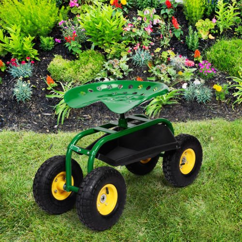 Green-Rolling-Garden-Cart-Work-Seat-W-Heavy-Duty-Tool-Tray-Gardening-Planting-0-1