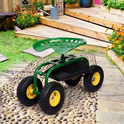 Green-Rolling-Garden-Cart-Work-Seat-W-Heavy-Duty-Tool-Tray-Gardening-Planting-0