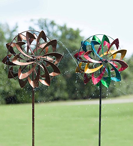 Hydro-Flower-Blossom-Garden-Wind-Spinner-and-Water-Sprinkler-Decorative-Garden-Sculpture-24-Dia-x-10-W-x-77-H-0