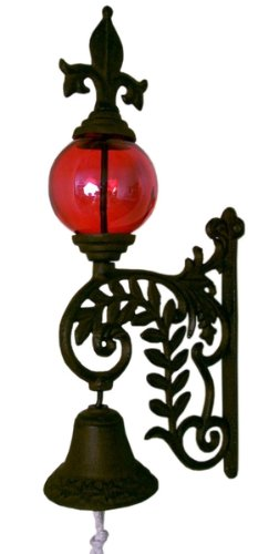 Iwgac-Home-Indoor-Outdoor-Cast-Iron-Bell-With-Glass-Gazing-Ball-Hanging-Wall-Decor-Red-0