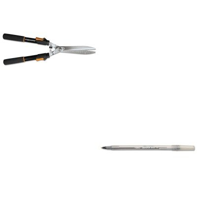KITBICGSM11BKFSK91696935J-Value-Kit-Fiskars-Telescoping-Power-Lever-Hedge-Shears-FSK91696935J-and-BIC-Round-Stic-Ballpoint-Stick-Pen-BICGSM11BK-0