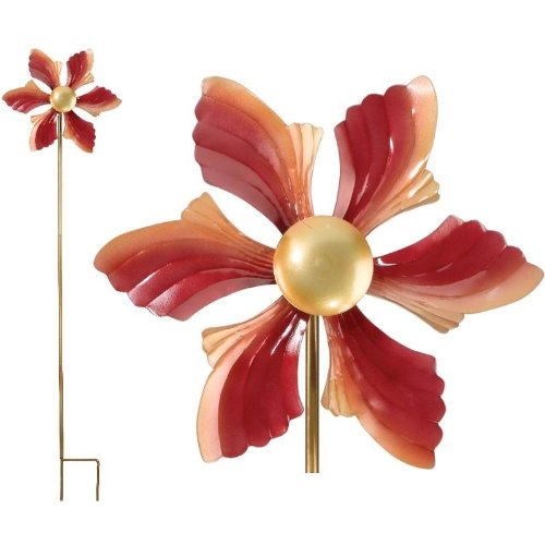 Kinetic-Wind-Spinner-Metal-Garden-Spinweel-12Diamx48H-Ruffled-Flower-Regal-Art-05234-0-0
