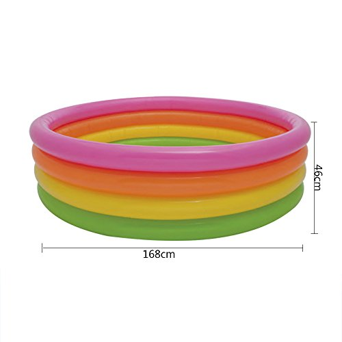 LZTET-Child-Inflatable-Pool-Family-Portable-Folding-Bath-Tub-Garden-Outdoor-Swimming-Playing-Pool-Paddling-Pool-Colorful-4-Ring-0-0