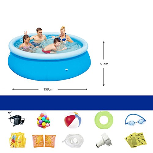 LZTET-Fast-Set-Round-Inflatable-Family-Pool-Circular-Folding-Bathtub-Garden-Outdoor-Swimming-Playing-Pool-Paddling-Pool-Blue-19851cm-0
