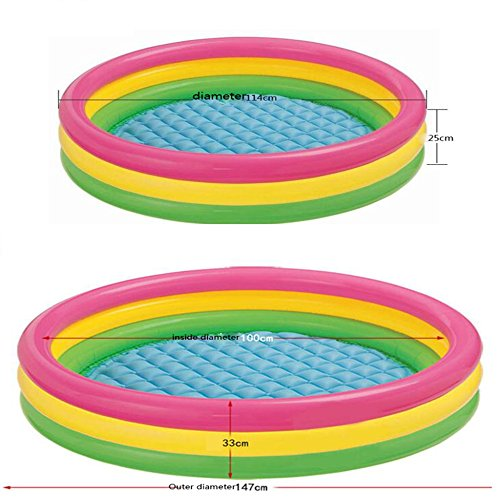 LZTET-Inflatable-Family-Pool-Fast-Set-Round-Folding-Garden-Outdoor-Swimming-Playing-Pool-Paddling-Pool-Crystal-Blue-3-Ring-Multi-colored-0-1
