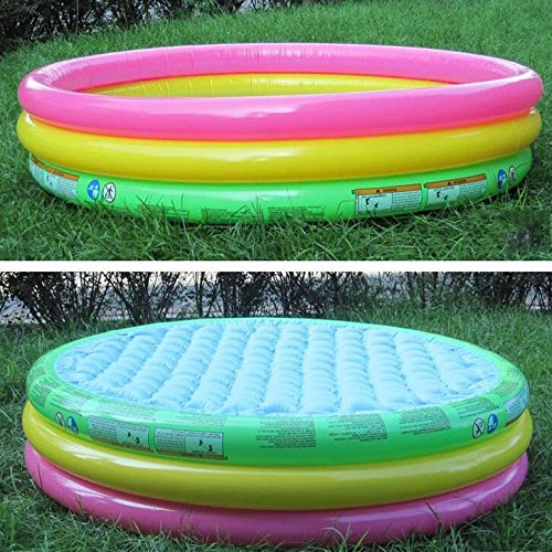 LZTET-Inflatable-Family-Pool-Fast-Set-Round-Folding-Garden-Outdoor-Swimming-Playing-Pool-Paddling-Pool-Crystal-Blue-3-Ring-Multi-colored-0-2