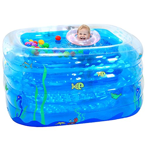 LZTET-Inflatable-Family-Pool-Folding-Tub-Kids-Pool-Multi-layer-Inflatable-Bathtub-Garden-Outdoor-Swimming-Playing-Pool-Paddling-Pool-Crystal-Blue-1159575cm-0