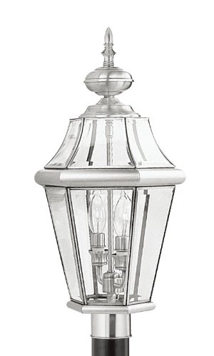 Livex-Lighting-2264-91-Outdoor-Post-with-Clear-Beveled-Glass-Shades-Brushed-Nickel-0