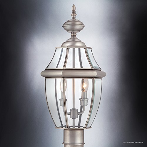 Luxury-Colonial-Outdoor-Post-Light-Large-Size-21H-x-11W-with-Tudor-Style-Elements-Versatile-Design-Classy-Aged-Silver-Finish-and-Beveled-Glass-UQL1149-by-Urban-Ambiance-0-1