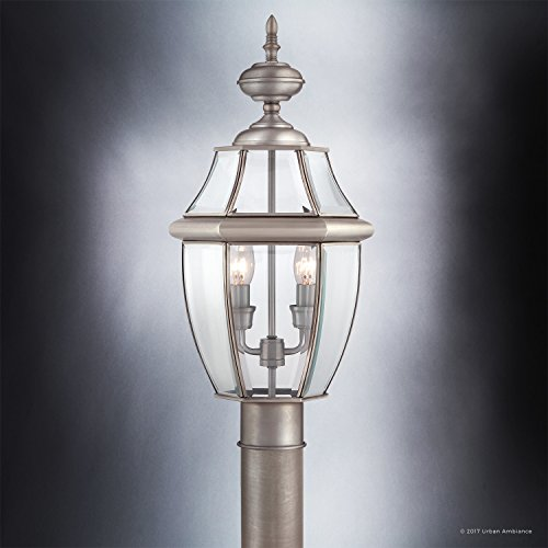 Luxury-Colonial-Outdoor-Post-Light-Large-Size-21H-x-11W-with-Tudor-Style-Elements-Versatile-Design-Classy-Aged-Silver-Finish-and-Beveled-Glass-UQL1149-by-Urban-Ambiance-0-2