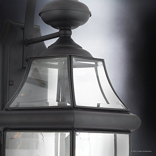 Luxury-Colonial-Outdoor-Wall-Light-Large-Size-20H-x-105W-with-Tudor-Style-Elements-Versatile-Design-High-End-Black-Silk-Finish-and-Beveled-Glass-UQL1144-by-Urban-Ambiance-0-2