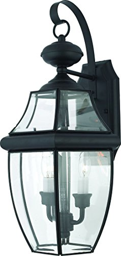 Luxury-Colonial-Outdoor-Wall-Light-Large-Size-20H-x-105W-with-Tudor-Style-Elements-Versatile-Design-High-End-Black-Silk-Finish-and-Beveled-Glass-UQL1144-by-Urban-Ambiance-0