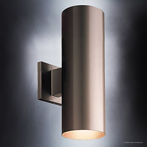 Luxury-Contemporary-Outdoor-Wall-Light-Medium-Size-14H-x-5W-with-Art-Deco-Style-Elements-Olde-Bronze-Finish-UHP1060-from-The-Hollywood-Collection-by-Urban-Ambiance-0-2