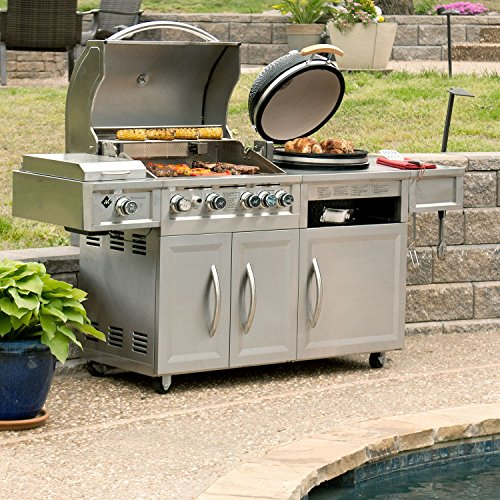 MM-Gas-Kamado-Combo-Grill-4-Burners-Side-Searing-Burner-and-Motorized-Rostisserie-Stainless-Steel-Includes-Grill-Cover-0-0
