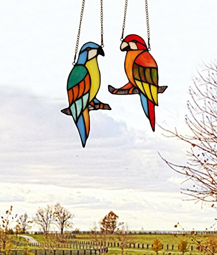 Makenier-Tiffany-Style-Stained-Glass-Red-and-Blue-Parrots-Window-Hanging-Sun-Catcher-0