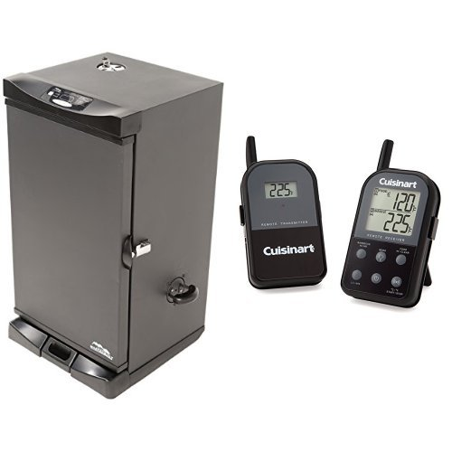 Masterbuilt-20078715-Electric-Digital-Smoker-Front-Controller-30-Inch-Black-with-Cuisinart-Thermometer-0