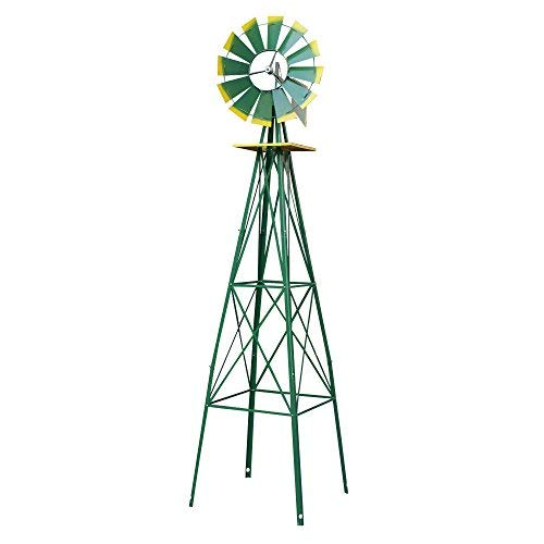 New-8FT-Green-Metal-Windmill-Yard-Garden-Decoration-Weather-Rust-Resistant-Wind-Mill-0-0
