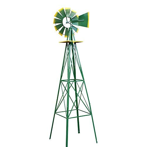 New-8FT-Green-Metal-Windmill-Yard-Garden-Decoration-Weather-Rust-Resistant-Wind-Mill-0-1