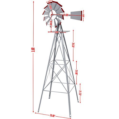 New-8Ft-Tall-Windmill-Ornamental-Wind-Wheel-Silver-Gray-And-Red-Garden-Weather-Vane-0-1