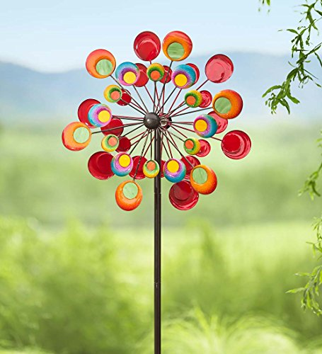 Outdoor-Cosmic-Multi-Colored-Metal-and-Glass-Garden-Wind-Spinner-Sculpture-24-dia-x-10-D-x-75-H-0