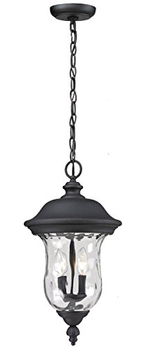 Outdoor-Pendant-2-Light-with-Black-Finish-Aluminum-Candelabra-Base-Bulb-10-inch-120-Watts-0