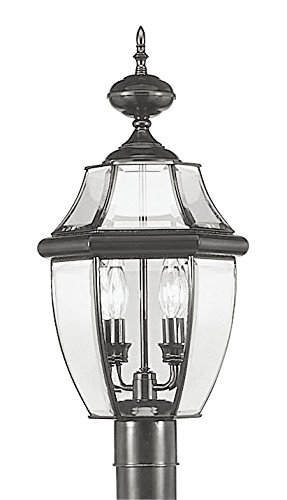 Outdoor-Post-2-Light-With-Clear-Beveled-Glass-Black-105-in-World-of-Crystal-0