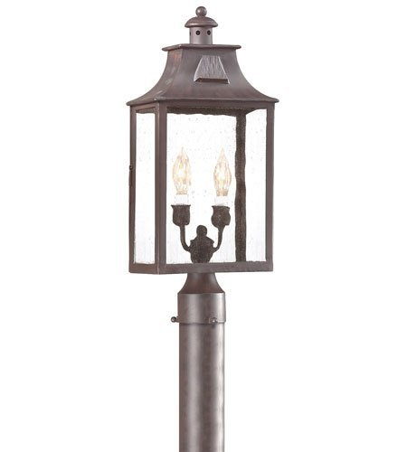 Outdoor-Post-2-Light-With-Old-Bronze-Finish-Hand-Forged-Iron-Material-Candelabra-9-inch-Wide-120-Watts-0