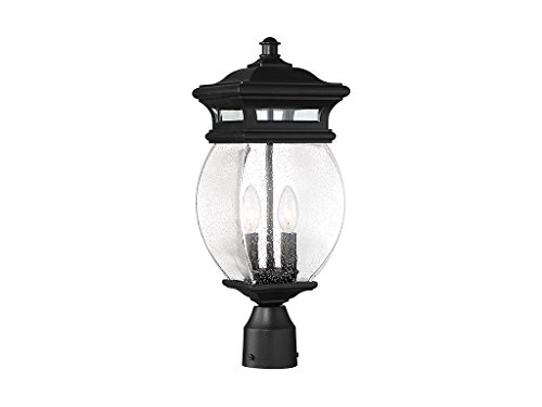 Outdoor-Post-2-Light-with-Black-Finish-MetalGlass-Material-C-Bulb-7-inch-120-Watts-0