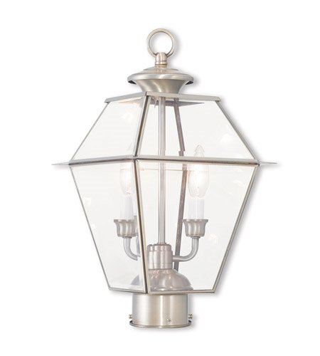 Outdoor-Post-2-Light-with-Brushed-Nickel-Clear-Beveled-Glass-Candelabra-17-inch-120-Watts-World-of-Crystal-0